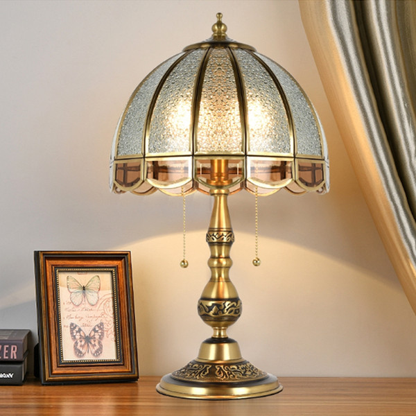 Continental retro full Copper table lamp Bedroom bedside Desk lamp Luxury wedding Hotel Club domestic Copper table lamp led lighting