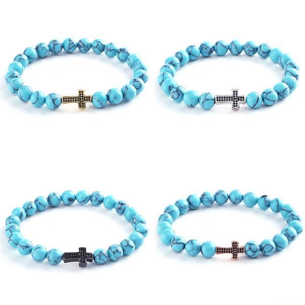 Black CZ Crystal Men Women's bracelet Charm Natural Green Stripe stone Crystal Cross Bracelets Bracelet for women gifts