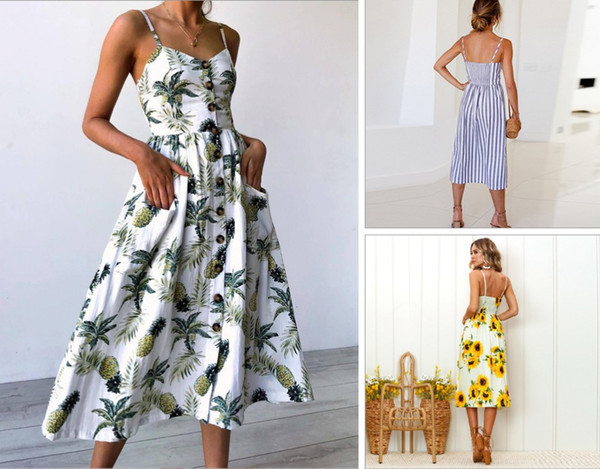 22 Styles Summer Women Dress Vintage Sexy Bohemian Floral Tunica Beach Dress Sundress Pocket Red White Dress abbigliamento a righe all'ingrosso