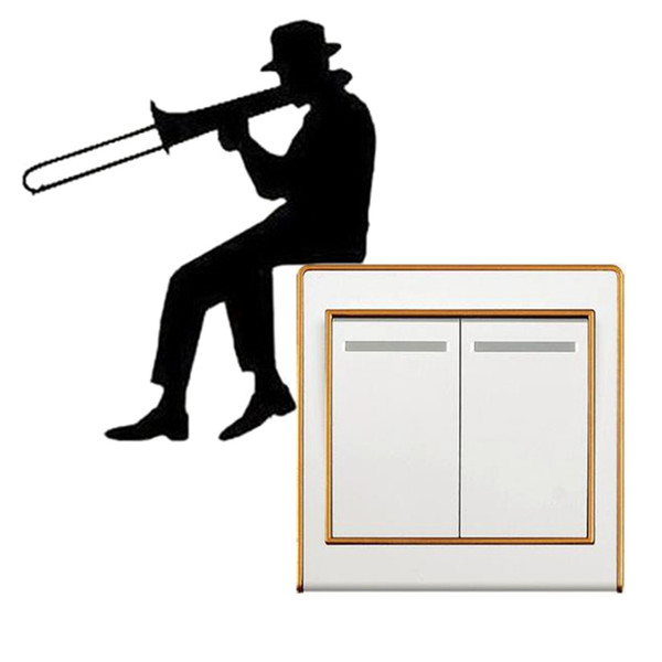 Man Playing Trombone Silhouette Light Switch Sticker Music Vinyl Wall Stickers Home Decor