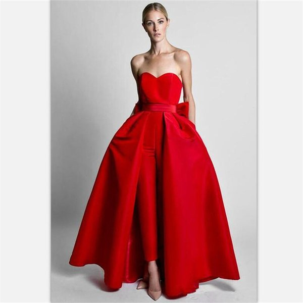 2018 Krikor Jabotian Red Jumpsuits Evening Dresses With Detachable Skirt Sweetheart Prom Gowns Custom Made Pants Suits for Women Two Pieces