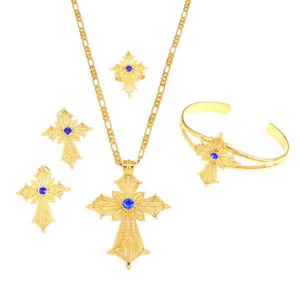 Ethiopian Stone Cross Jewelry Set Gold Color Necklace Earrings Ring Bangle Africa Dubai Bridal Wedding Sets