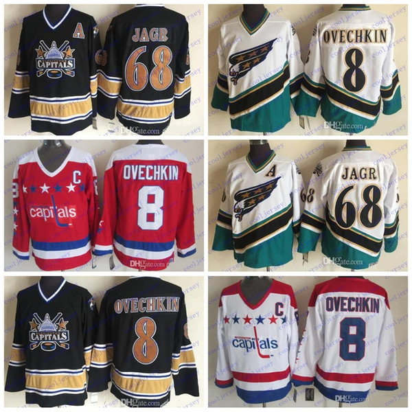 factory price 62990 bed11 2018 Throwback Washington Capitals #8 Alex Ovechkin 68 Jaromir Jagr 2000  Vintage 1995 Ccm 2018 Stanley Cup Hockey Navy Blue Red White Jerseys From  ...