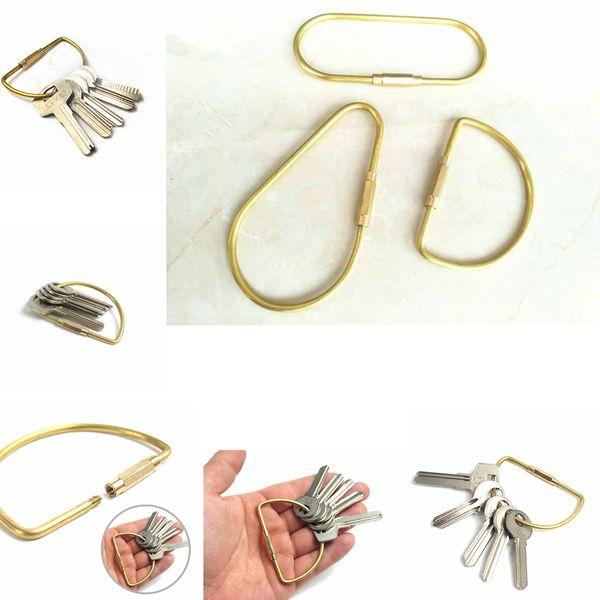 Vintage Solid Brass Keychain car Key holder Clip copper Keyring Key Ring Clip Keyring Hook 3styles FFA081
