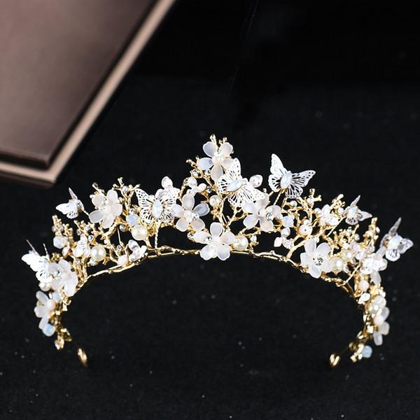 Corona nupcial de lujo de alta calidad brillantes cristales moldeados corona real boda coronas de cristal mariposa diadema accesorios para el cabello fiesta tiara