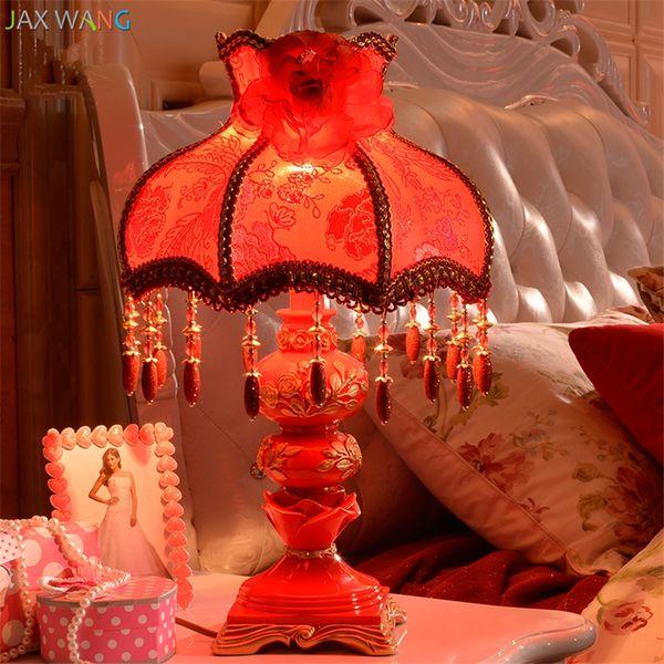 European Fabric Shade Table Lamps Big Red Wedding Bedroom Living Room Warm Bedside Desk Lights Hander Decorative Fixtures