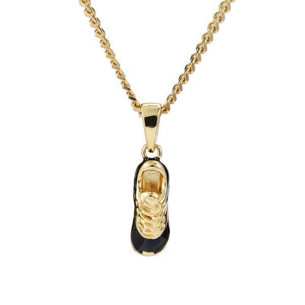 Fashion Jewelry Men Charm Hip Hop Drip Small Shoes Pendant Necklace Short Chain Gold Silver Color Men Punk Rock Necklace For Men
