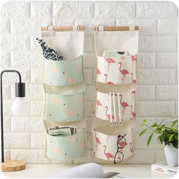 Flamingo Pattern Cotton Linen Hanging Storage Bag 3 Pockets Wall Mounted Wardrobe Hang Bag Wall Pouch Cosmetic Toys Organizer