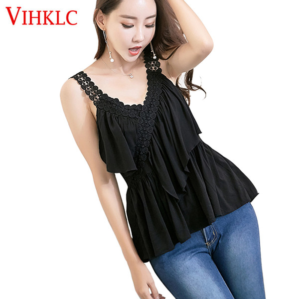 VIHKLC Fashion Tank Top Ruffles Sling Camisole Cami Summer Ladies No Sleeve New Fashion Women Slim Vest Women's Tops T673
