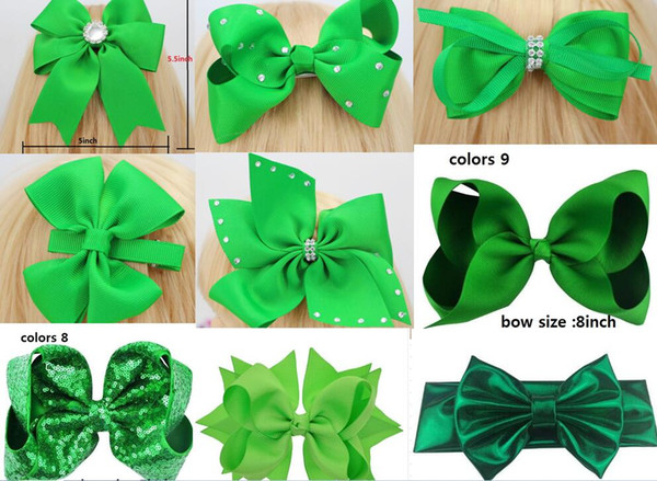 2018 NEW ARRIVAL 10 style available ! St. Patrick's Day Glitter Ribbon Cheer Hair Bow WITH HAIR CLIP For Girls Gift DROP SHIPPING 15pcs/