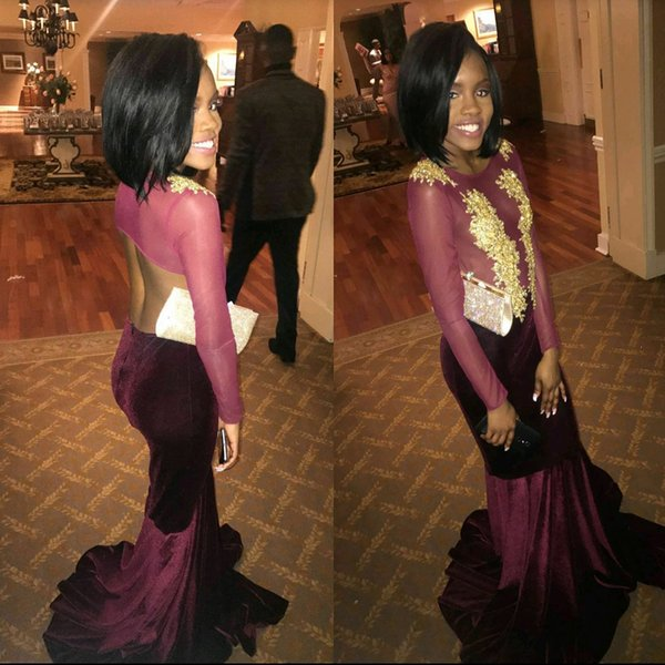 New Design African Mermaid Velvet Prom Dresses 2018 Sexy Backless Sheer Long Sleeves Appliques Illusion Bodice Long Evening Gowns