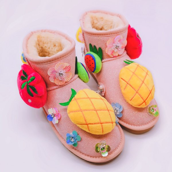 Autumn and winter new handmade custom cute cartoon duck warm snow boots fashion three-dimensional fruit short tube women's boots