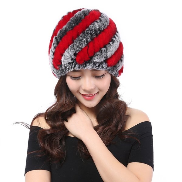 YWMQFUR winter fur hat Rabbit Fur Women Warm fashion Lady Beanie Hat Handmade knitted headwear gorro Caps girls cap H02