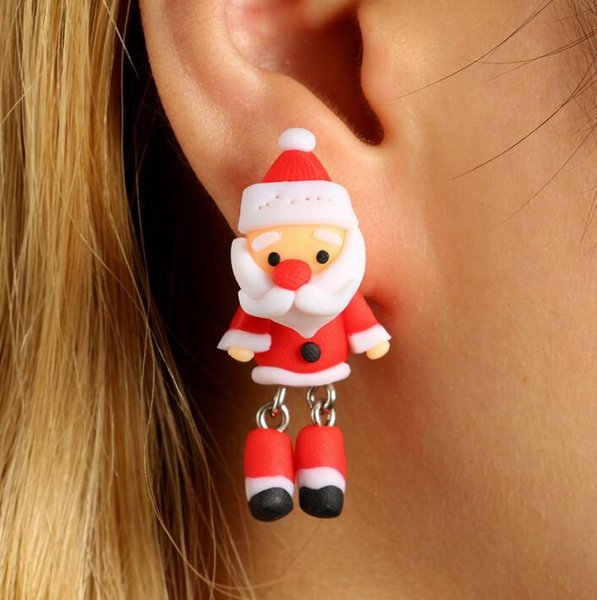 Boucles d'oreilles de Noël Mignon Rouge Père Noël Boucles D'oreilles pour Femmes Bande Dessinée Polymère Argile Boucles D'oreilles De Noël Bijoux LJJK1062