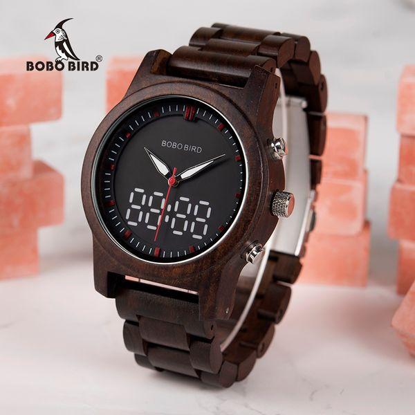 super popular 7b55c 21ba5 Compre BOBO BIRD Reloj Digital Negro Hombres De Madera De Cuarzo De Doble  Pantalla Reloj Reloj Digital Hombre A $43.27 Del Qiuyuezhong | DHgate.Com