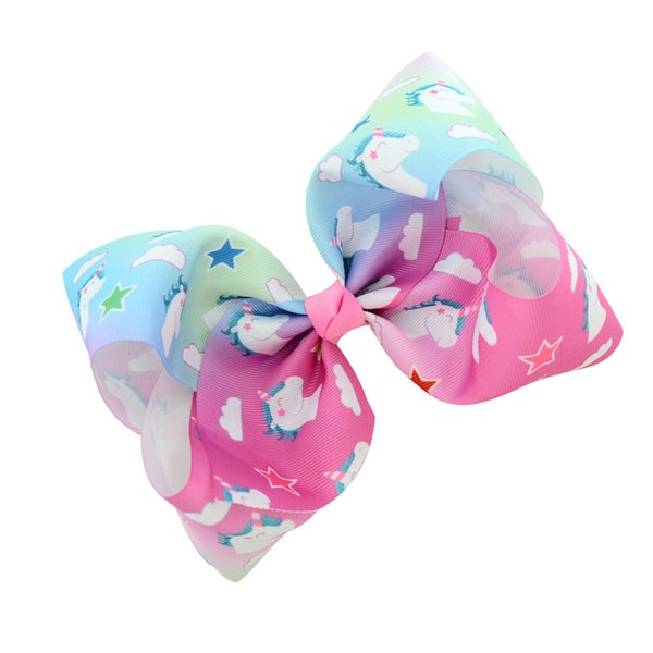 Girls Baby Rainbow colored cartoon hairpin Unicorn ribbon Bubble children hair clip baby Bowknot Barrettes party accessories 12colors