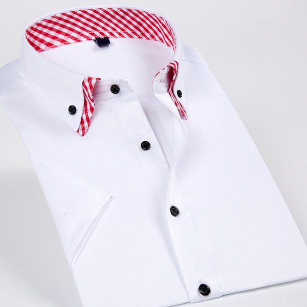 Double Collar Men Short Sleeves Dress Casual Shirt Solid Color Business Male Social Shirts Black Button Design 2018 New