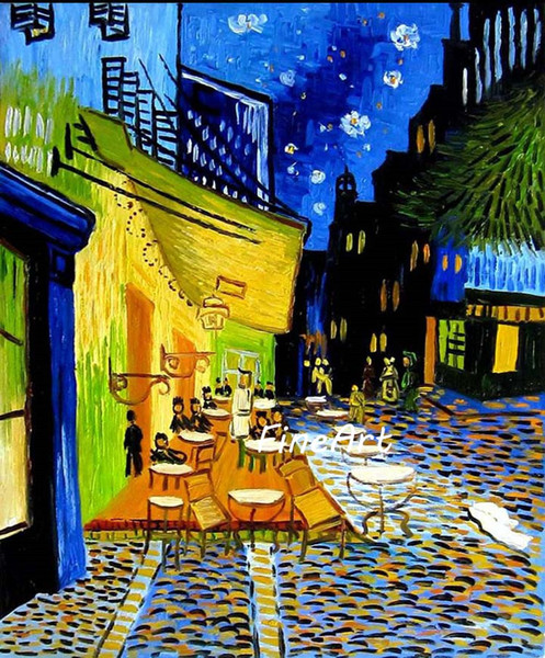 handmade canvas high qulaity vincent van gogh painting Cafe Terrace at Night famous canvas paintings reproduction hanging on wall