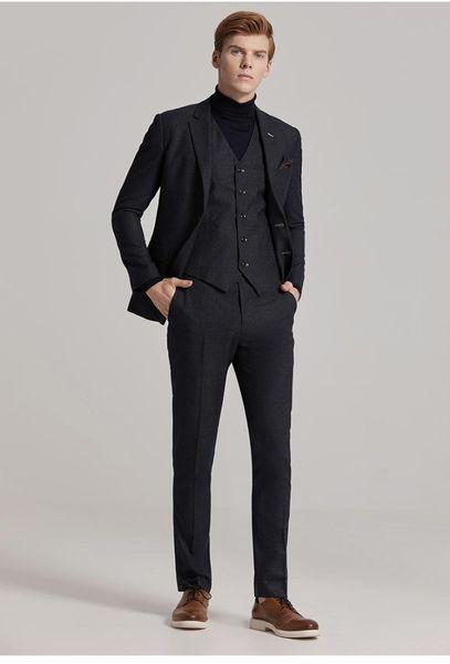Fashion Business Suits Slim Fit Bespoke Suits Bridegroom Weeding Party Dress for Men Blazer Men British Style