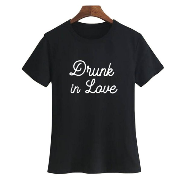 Women's Tee Drunk In Love Bachelor Party Slogan T Shirt Women Fashion Letters Printing Crewneck Short Sleeve Hipster Bride Funny T Shirt