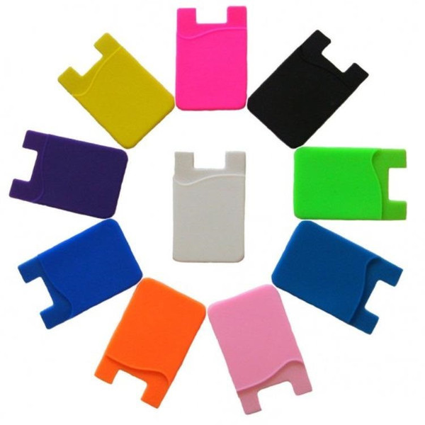 Hot Selling Fashion Silicone Wallet Credit Card Cash Pocket Sticker Adhesive Holder Pouch Mobile Phone 3M Gadget iphone Samsung