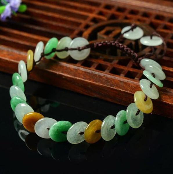 Mianmar natural Um bens jade pulseira pé cadeia de espécies de gelo botão de segurança de três cores jade feminino mão-tecido corda mão