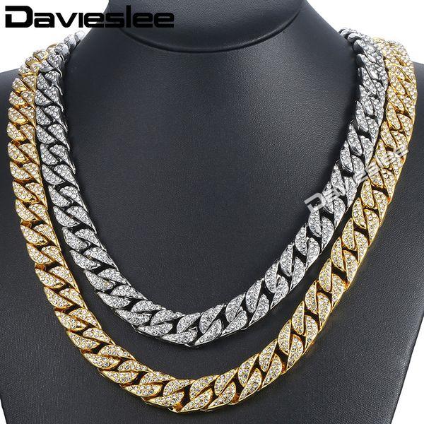 Davieslee14mm Herren Halskette Hiphop Iced Out Miami Bordstein Cuban Gold Halskette gepflastert Klar Strass Damen Herren Kette DLGN432