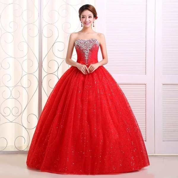 Real photo Customized 2018 Korean Style Sweet Romantic Classic Lace Red Princess Wedding Dress Strapless Mariage Wedding Gown