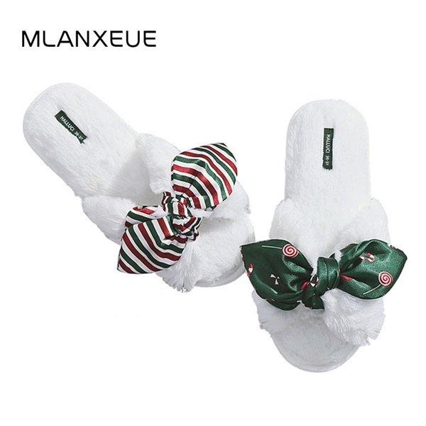 Christmas Candy Color Plush Slippers Bow Tie Soft Sole Woman Cotton Slippers Stripe Star Print Lady Slippers Slip On Shoes Women