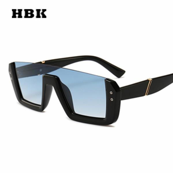 HBK Unisex Square Occhiali da sole Big Frame Vintage Donna Uomo Brand Designer 2019 New Fashion Occhiali da sole Steampunk Gradient UV400