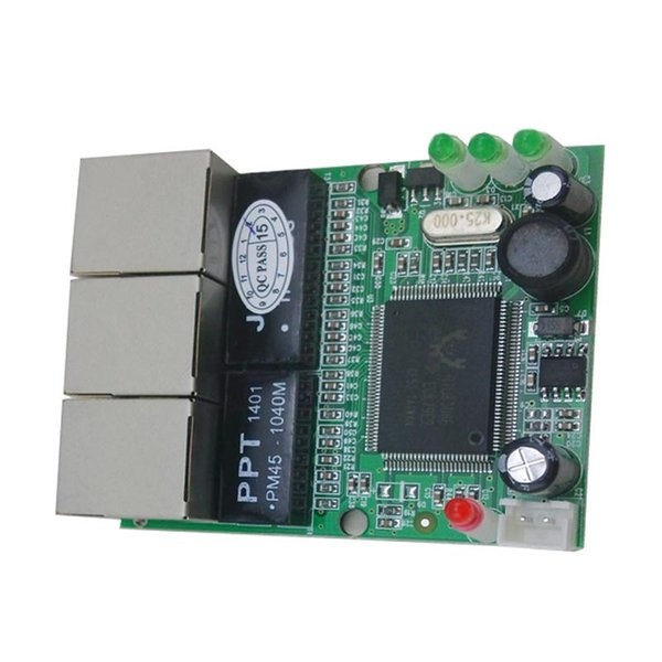 mini 3 port ethernet switch 10 / 100mbps rj45 network switch hub pcb module board for system integration