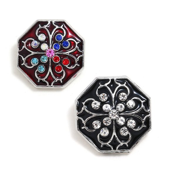 10Pcs Geometric Button Jewelry Ginger Rhinestone Flower 18mm Snap Buttons for Leather Metal Snap Button Bracelet Bangle for Wome