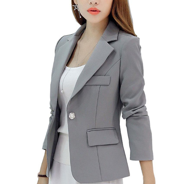 Neuer langärmeliger dünner Frauen-Blazer und Jacken-kleine Frauen-Klage-koreanische Version (grau / blau / Weinrot / Marineblau) Damen-Blazer