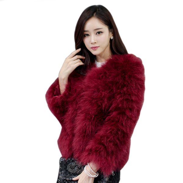 Colored Fur Coats 2018 Women Real Ostrich Wool Turkey Fur Coat Feather Weaved Short Jacket Women Jackets and Coats