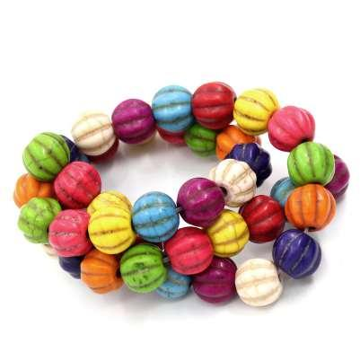 Doreen Box erstellt Edelstein Perlen Kürbis Halloween gemischt gefärbt 12x12mm, Loch: 1mm, 39cm lang, 1 Strang (32PCs) (B23010)