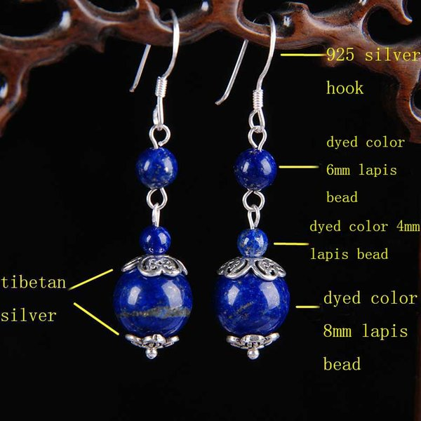 10Pair Lapis Lazuli Earrings Handmade 925 Sterling Silver Hook Tibetan Silver Charms Dyed Color 4mm 6mm 8mm Lapis Stone Beaded Drop Earrings