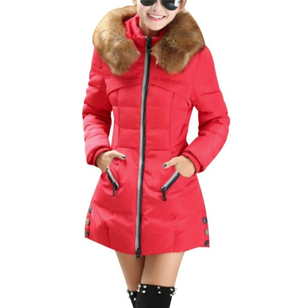 2017 Autumn Real Fur Collar Parka Warm Coon Womens Hooded Winter Coats And Jackets Plus Size 3XL 4XL Manteau Fourrure Femme