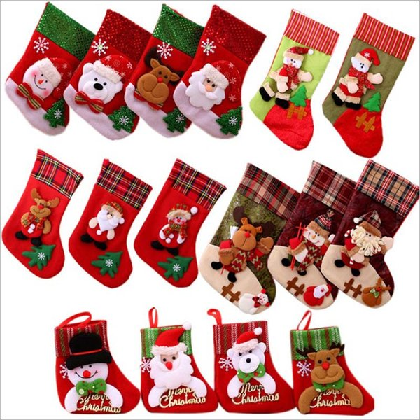 100PCS Christmas Tree Decoration Hanging Socks Gifts Bag Snowman Santa Deer Xmas Tree Decor Ornaments Xmas Star Decoration