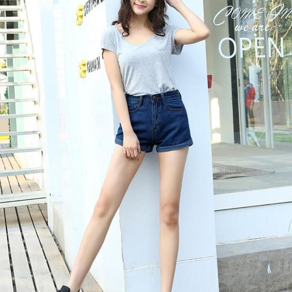 Pantalones cortos de mezclilla de las mujeres de cintura alta retro verano Pantalones vaqueros de moda rizado delgado que se encrespa