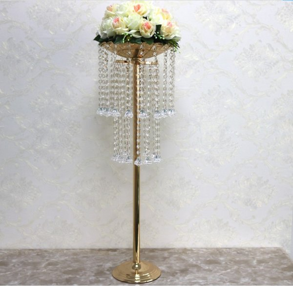 luxury double-layer crystal hotel home wedding table centerpieces decoration flower Vase pan stand wedding road lead venue party layout prop