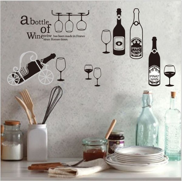 Creative Wall Stickers Diy Self-adhesive Stickers Glass Bottle PVC Wallpapers Waterproof Arts Murals Kitchen Bar Background Decoration