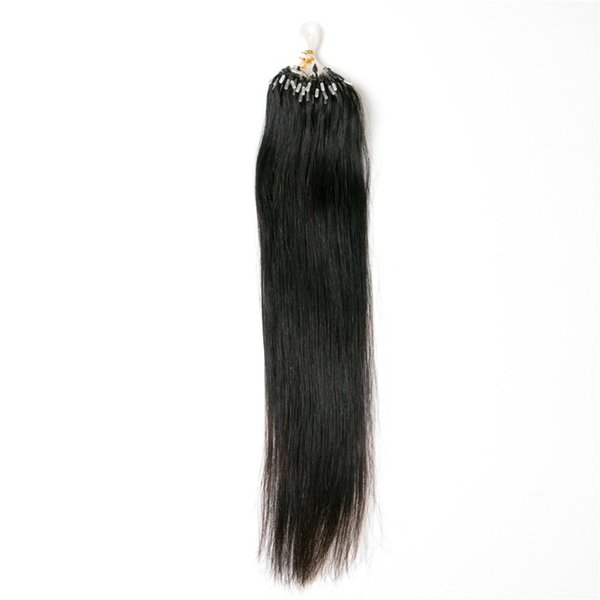 Micro ring extensions black hair