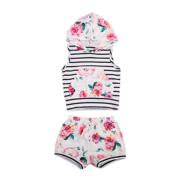 2017 Newest Toddler Infant Baby Girl Floral Clothes Set Sleeveless Hoodie T-Shirt Tops Shorts Pants Summer Two Piece Outfit Set