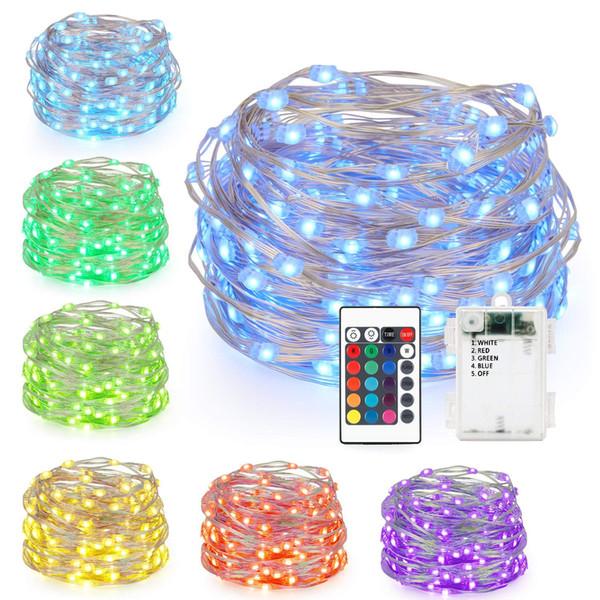 LED Luzes De Fadas Alimentado Por Bateria Multi Cor Mudando Luzes Da Corda com Controle Remoto 50 LEDs Luzes Decorativas Ao Ar Livre Indoor para o Natal