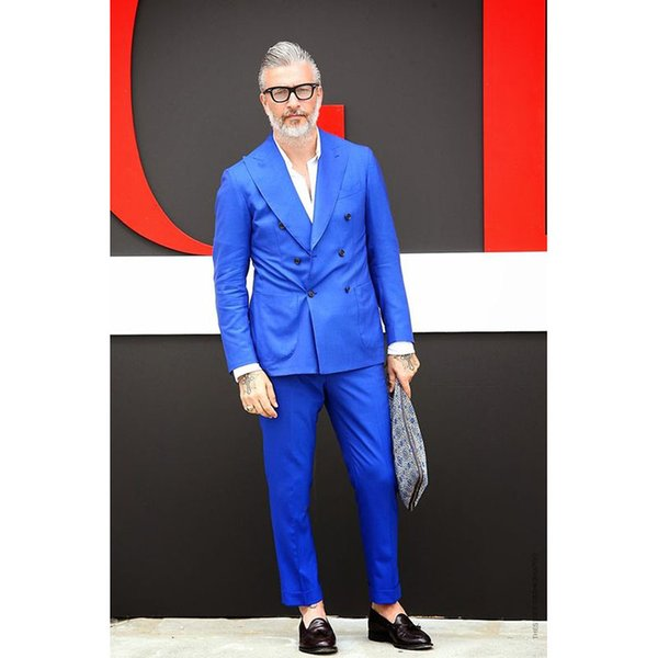 Latest Coat wedding Royal Blue Men Suit jackets new Groom Tuxedo Slim Fit mens Suits Custom 2 Pieces Blazer Terno Masculino