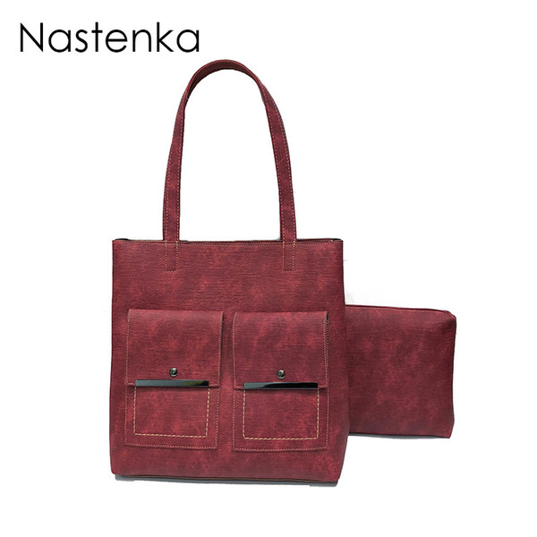 Nastenka Vintage Women 2 pcs Composite Bags Set Bag Casual Totes Large Capacity Handbag Lady Elegant Shoulder Bag With Purses