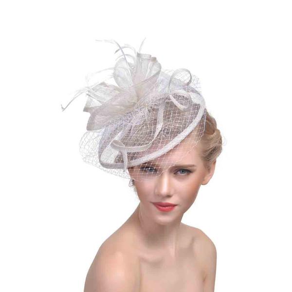Velos faciales Sombreros para mujer Plumas de novia Fascinators Sombreros  de boda 2018 Recién vestidos de 4b89c7123d0