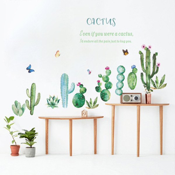 Cartoon Cactus Potted Plants Stickers Green Plants Butterfly Wall Mural Poster Art Wall Border Decals Home Decor Wallpaper Wall Decals