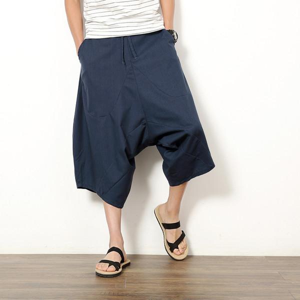 2017 Japanese cotton linen pants low crotch pants wide leg hanging crotch