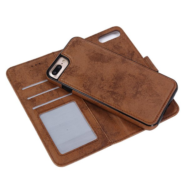 One Piece Multi-functional PU Leather Flip Card Slot Cover Case for IPhone XS MAX XR 8 Plus with Magnet Detachable Smart Phone Back Cover